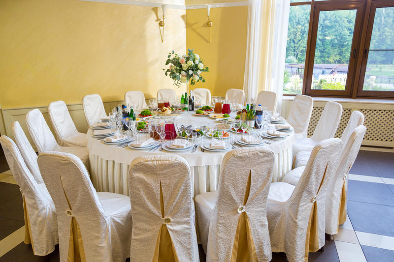 Buffet table corporate. Table appointments for corporate stock images