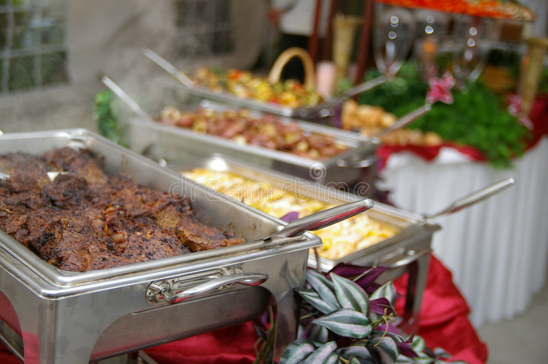 Buffet table food stock images