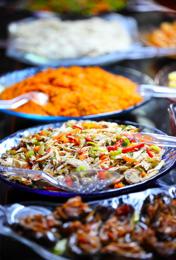 Buffet table. Full of delicious food stock photography