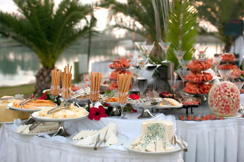 Buffet table with seafood stock image