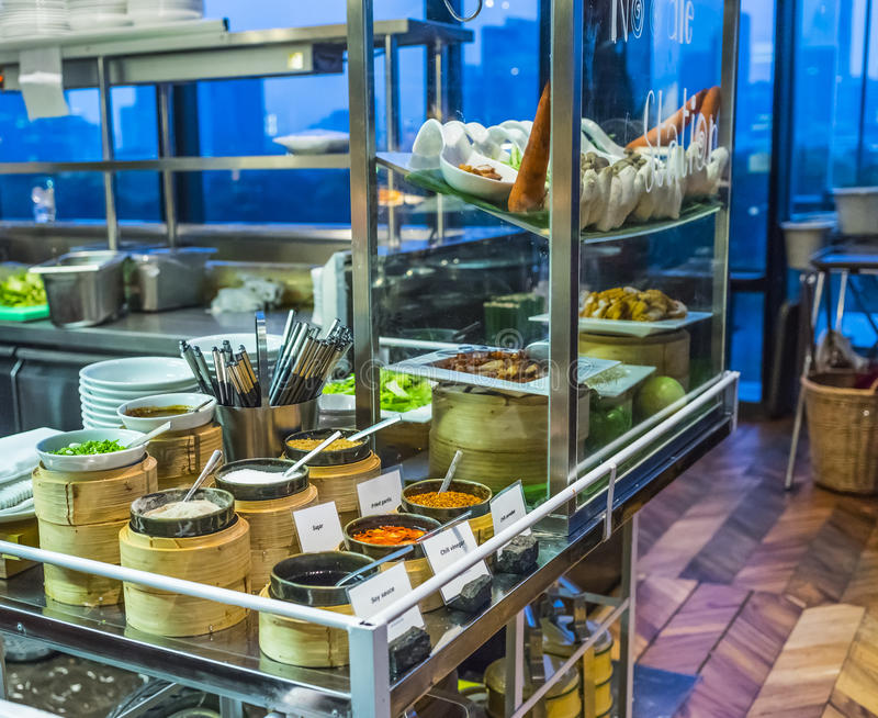 Buffet. Thai style noodles shop in restaurant buffet stock image