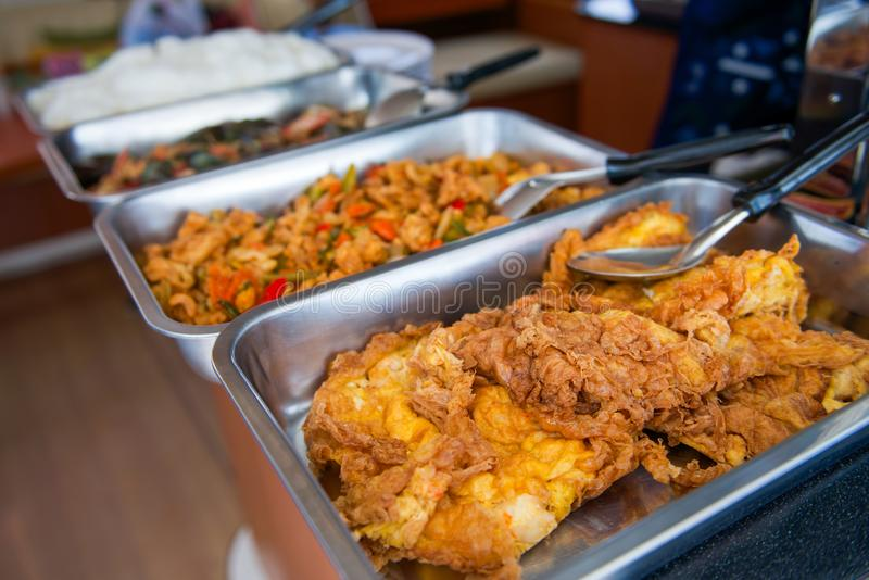 Buffet voor lunch op boot royalty-vrije stock fotografie