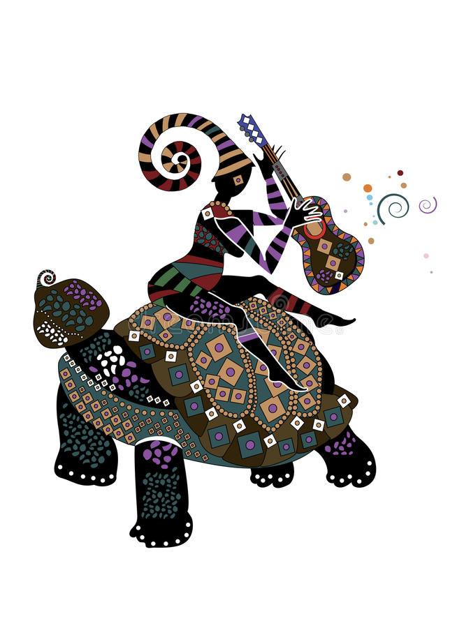 Buffoon. People on the back of a turtle performs its merry song in ethnic style vector illustration