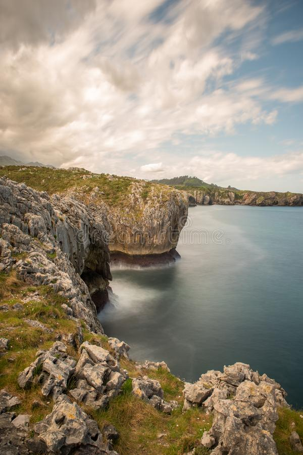 Bufones de Arenillas in the cost of Asturias, north of Spain. Way of St. James royalty free stock photos