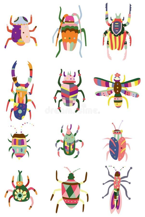 bug икона цвета шаржа иллюстрация вектора