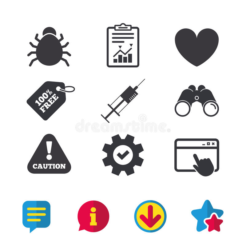 Free Bug And Vaccine Signs. Heart, Spray Can Icons. Royalty Free Stock Images - 96738029