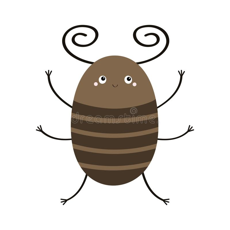 Bug beetle icon. Cute insect with horn. Cartoon kawaii funny character. Flat design. White background. Isolated royalty free illustration