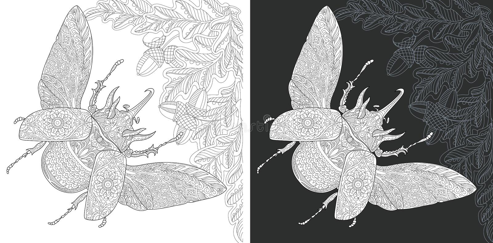 Bug Coloring Page. Bug. Coloring Page. Coloring Book. Colouring picture with rhinoceros beetle drawn in zentangle style. Antistress freehand sketch drawing vector illustration