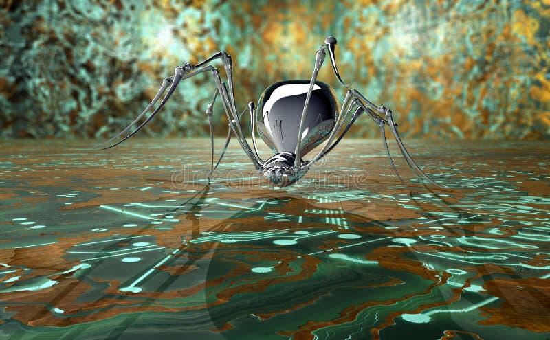 Bug di concetto di sicurezza di Digital nell'ambiente elettronico, 3 illustrazione vettoriale