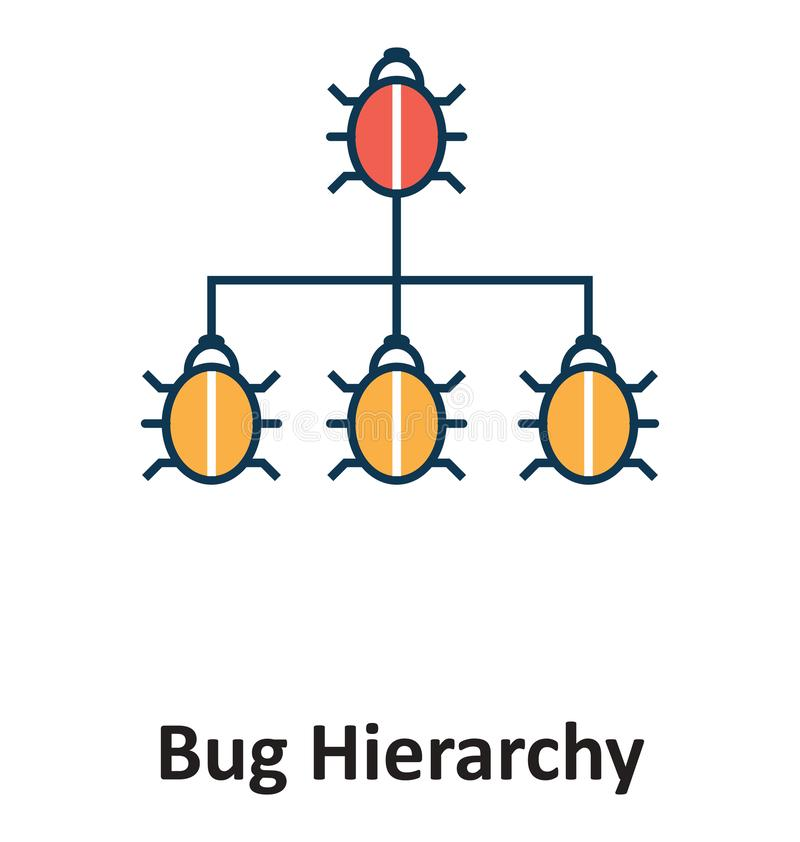Bug Hierarchy Isolated and Vector Icon for Technology vector illustration