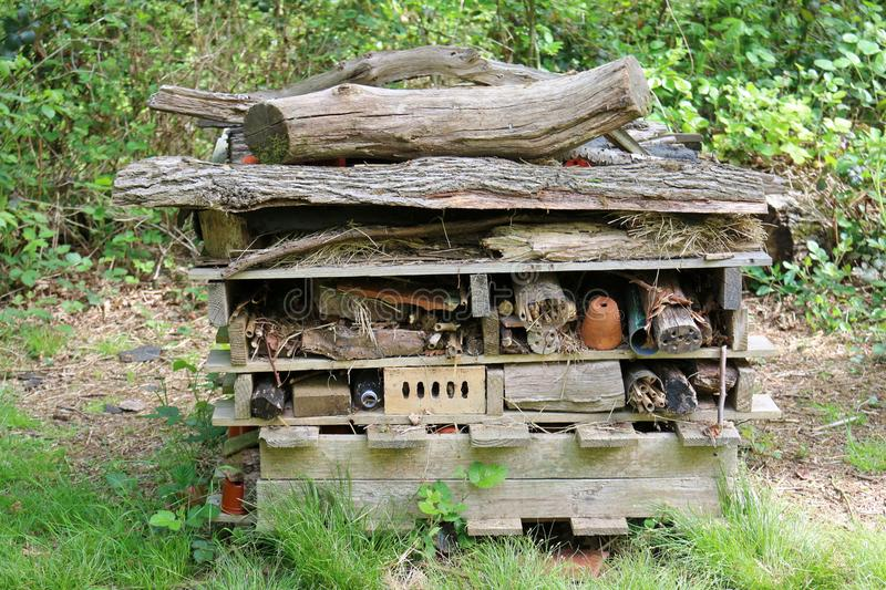 Bug hotel for insects stock photography