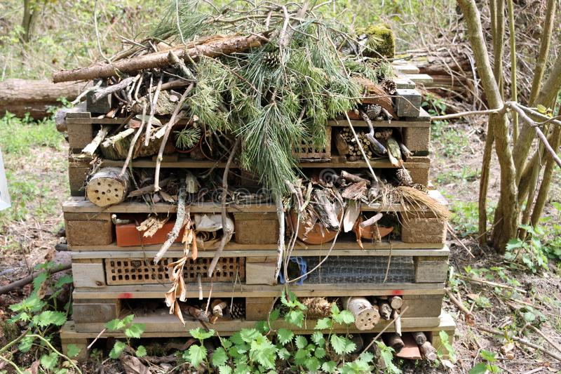 Bug hotel made from pallets stock photo