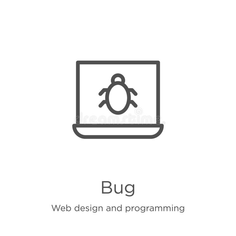 Bug icon vector from web design and programming collection. Thin line bug outline icon vector illustration. Outline, thin line bug. Bug icon. Element of web vector illustration
