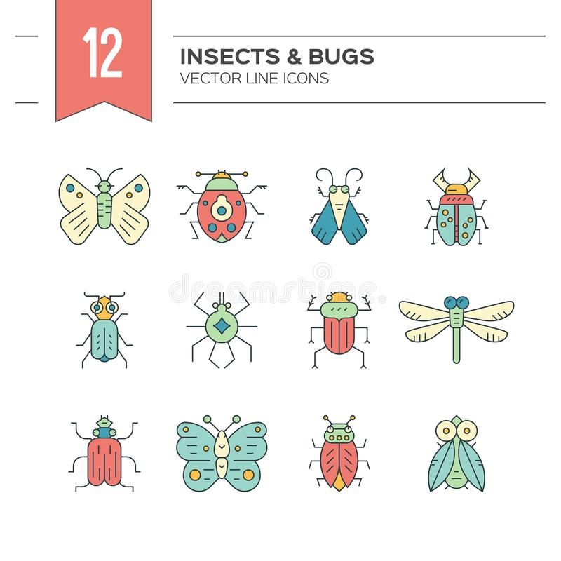 Bug Icons. Colorful and modern collection of insects made in thin line vector style. Bug symbols, nature elements royalty free illustration