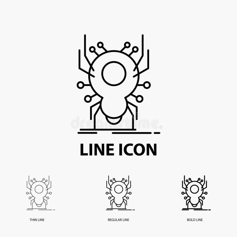 Bug, insect, spider, virus, App Icon in Thin, Regular and Bold Line Style. Vector illustration royalty free illustration