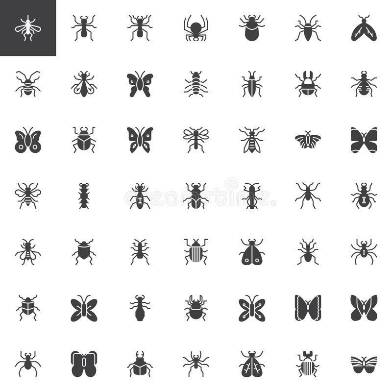 Bug and insects vector icons set royalty free illustration