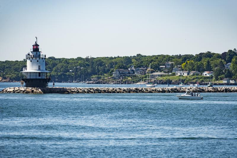The Bug Light Lighthouse in South Portland, Maine royalty free stock photo
