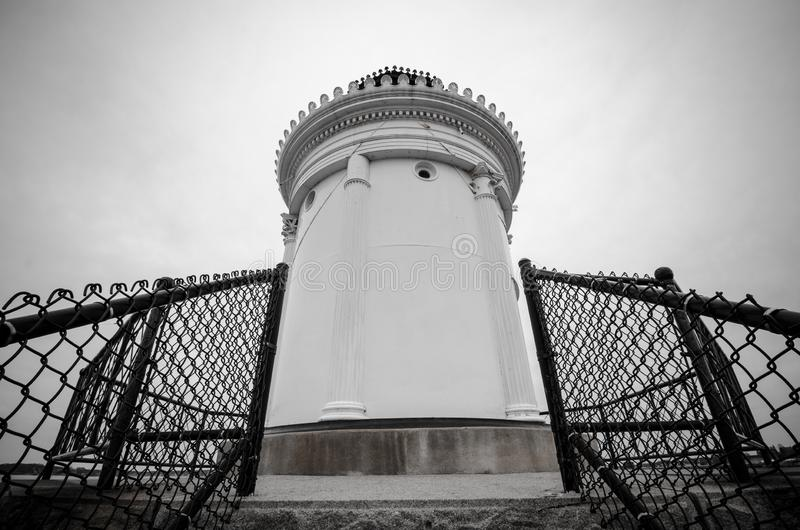 Black and white view of the Portland Bug Ligththouse, a breakwater Light house in Maine, on Cape Elizabeth royalty free stock photography