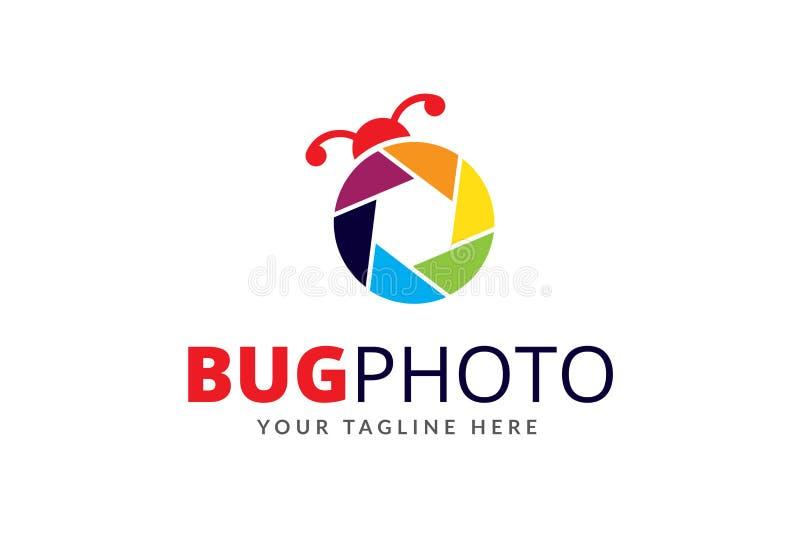 Bug Photo Logo Design Template Vector. Bug Photo Logo Design Template. It`s Suitable for any Creative, Games, Apps, Photography, Print, software farm etc stock illustration
