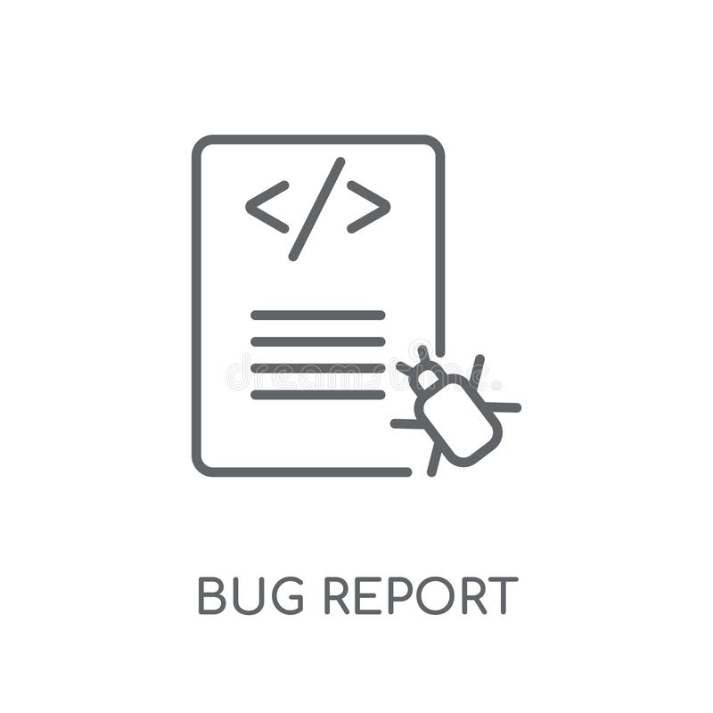 Bug report linear icon. Modern outline Bug report logo concept o. N white background from Programming collection. Suitable for use on web apps, mobile apps and vector illustration