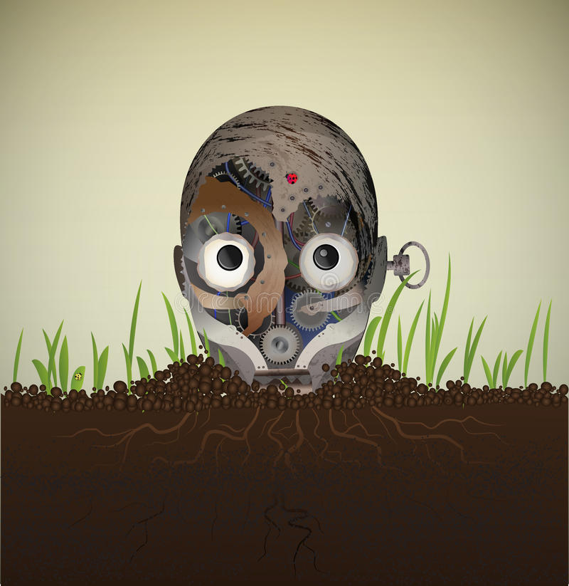 Bug. Rusty old metal robot buried and looks surpised, because ladybugs on his head and surrounded with new growing grass, disaster recovery, machine utilization royalty free illustration