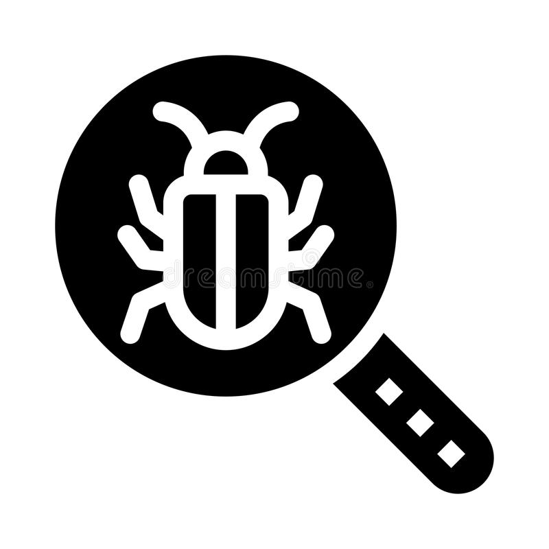 Bug search glyphs icon. Bug search Vector glyphs Icon. Elements for mobile concept and web apps. Thin line icons for website design and development, app stock illustration