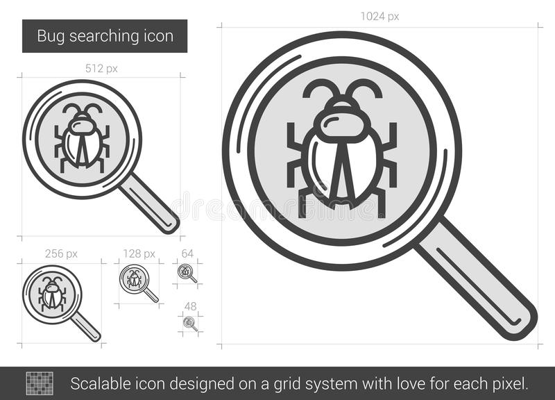 Bug searching line icon. stock illustration