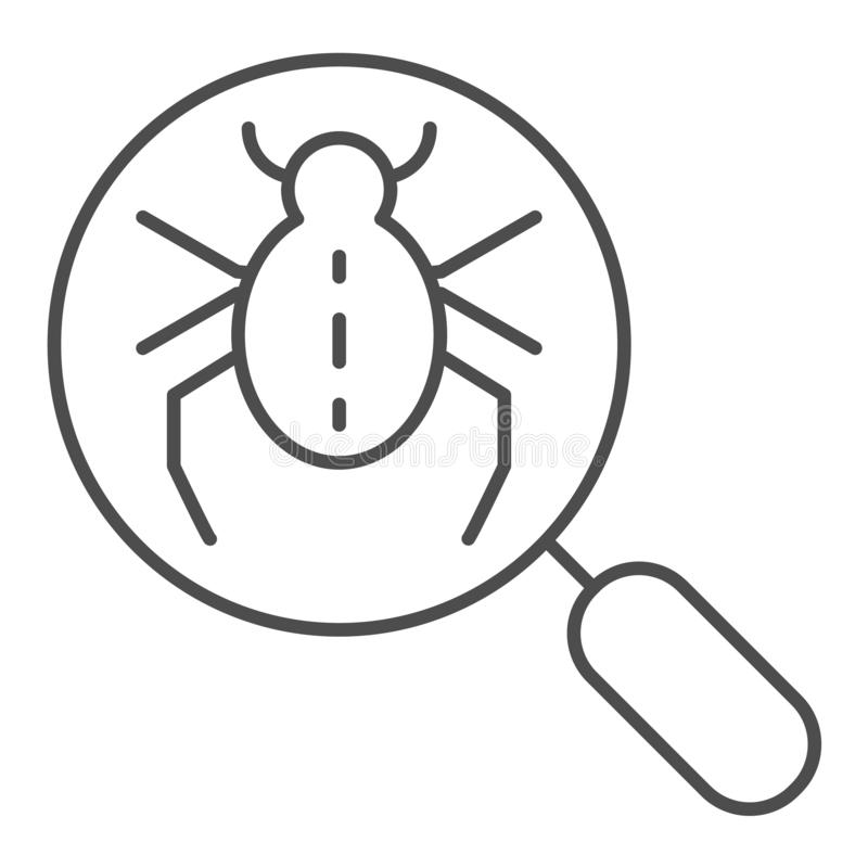 Bug searching thin line icon. Magnifying glass and beetle vector illustration isolated on white. Computer virus outline royalty free illustration