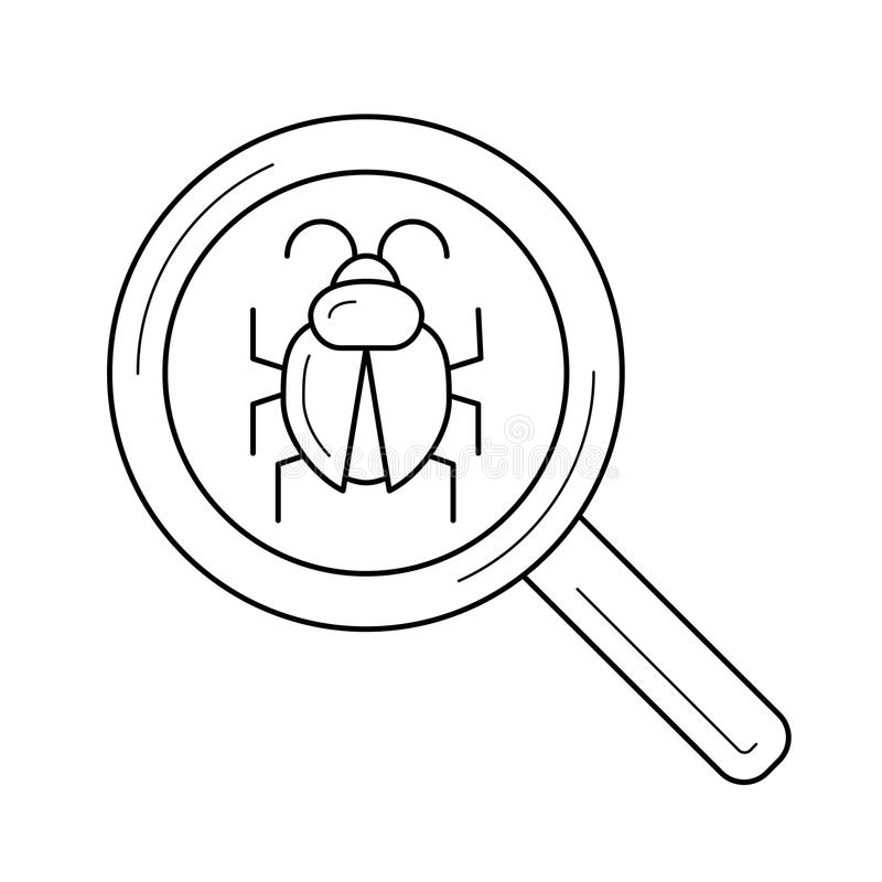 Bug searching line icon. vector illustration