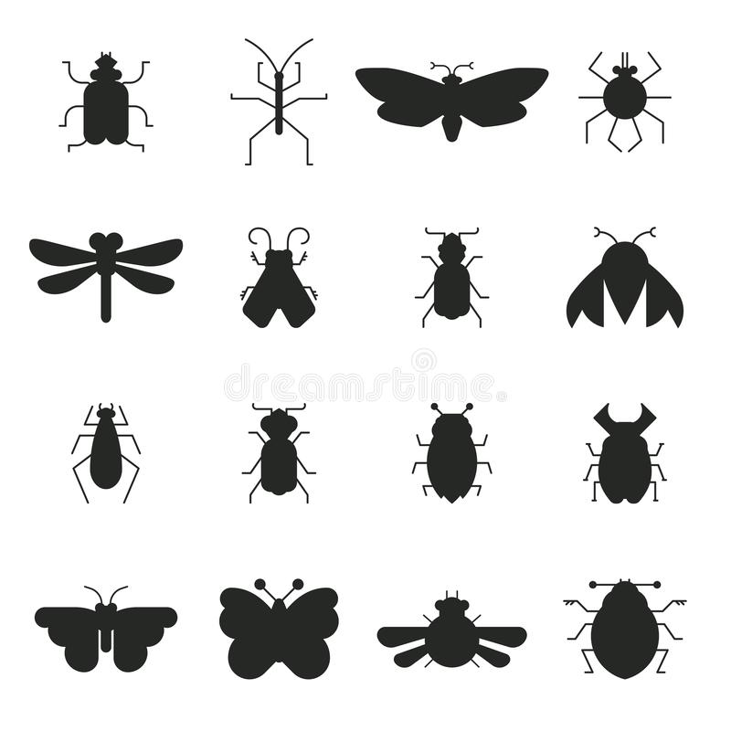 Bug Silhouettes. Collection of vector bug and insect silhouettes isolated on white background. Geometrical design elements made in vector stock illustration