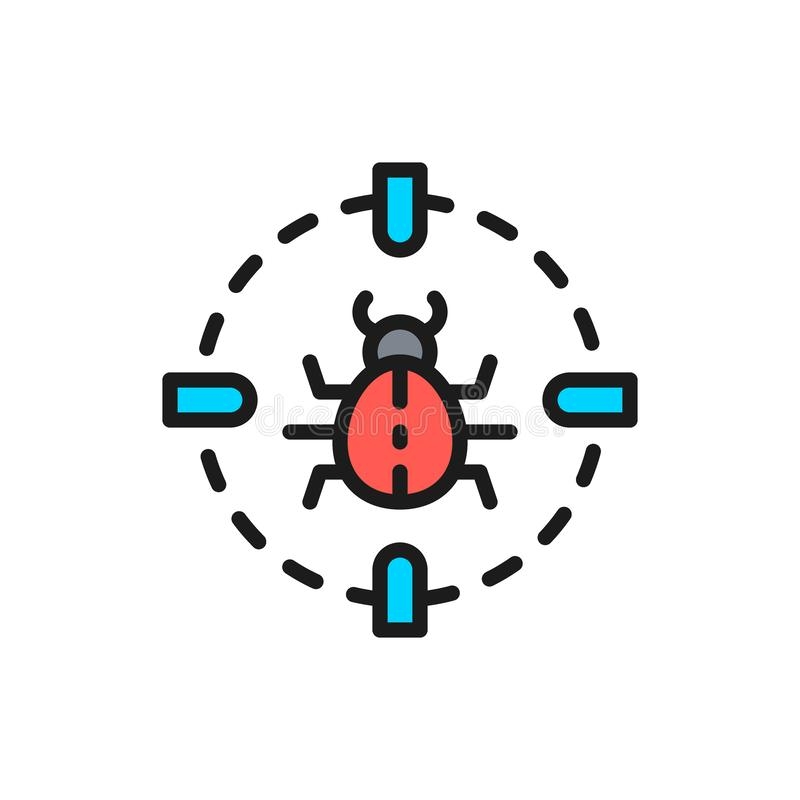 Bug in target sight, virus flat color line icon. Vector bug in target sight, virus flat color line icon. Symbol and sign illustration design. Isolated on white vector illustration