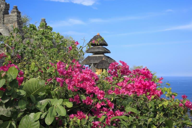 Buganvília com o oceano azul Bali Indonésia do templo hindu imagem de stock royalty free