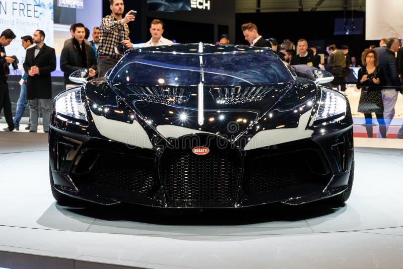 Bugatti La Voiture Noire sports car. GENEVA, SWITZERLAND - MARCH 5, 2019: One-off 19 million dollar Bugatti La Voiture Noire supercar debut at the 89th Geneva stock image