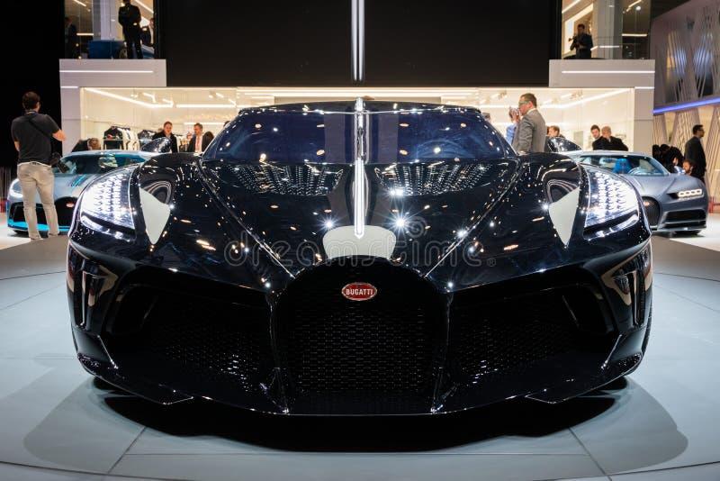 Bugatti La Voiture Noire supercar. GENEVA, SWITZERLAND - MARCH 6, 2019: One-off 19 million dollar Bugatti La Voiture Noire supercar debut at the 89th Geneva royalty free stock photos