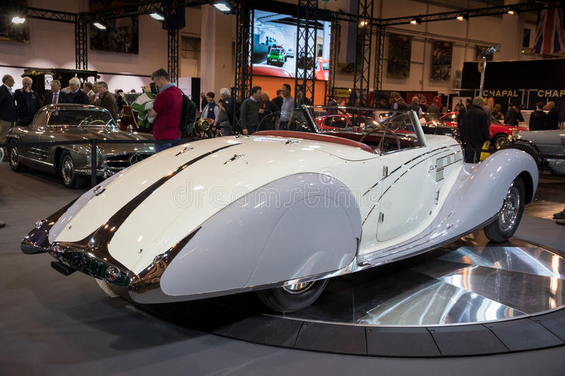 1938 Bugatti Type 57c Gangloff Roadster vintage car. ESSEN, GERMANY - APR 6, 2017: Bugatti Type 57c Gangloff Roadster vintage car presented at the Techno stock photo