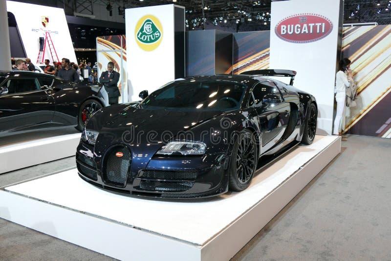 Bugatti Veyron bij Internationale Auto van New York toont jpg royalty-vrije stock foto's