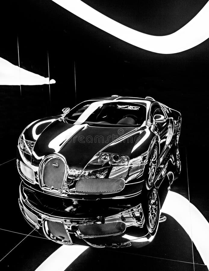 Bugatti Veyron en noir et blanc - la voiture la plus rapide au monde images stock