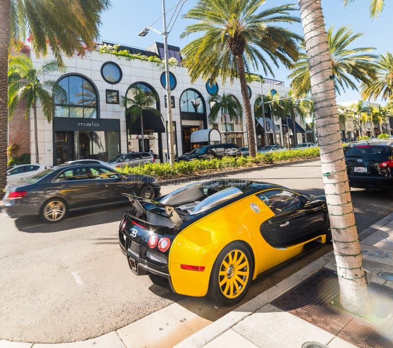 Bugatti Veyron i rodeodrev, Beverly Hills arkivbild