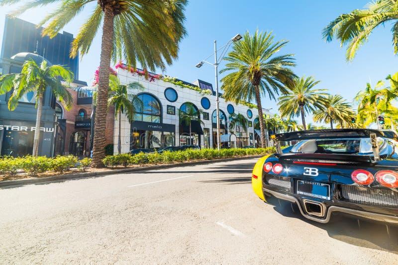 Bugatti Veyron i rodeodrev, Beverly Hills royaltyfri foto
