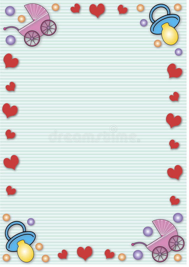 Buggies, soothers and hearts royalty free stock images