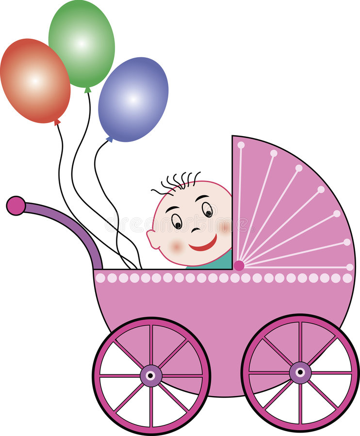 Free Buggy, Baby And Balloons Royalty Free Stock Images - 2970319