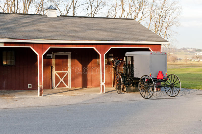 Buggy dei Amish e del cavallo fotografie stock