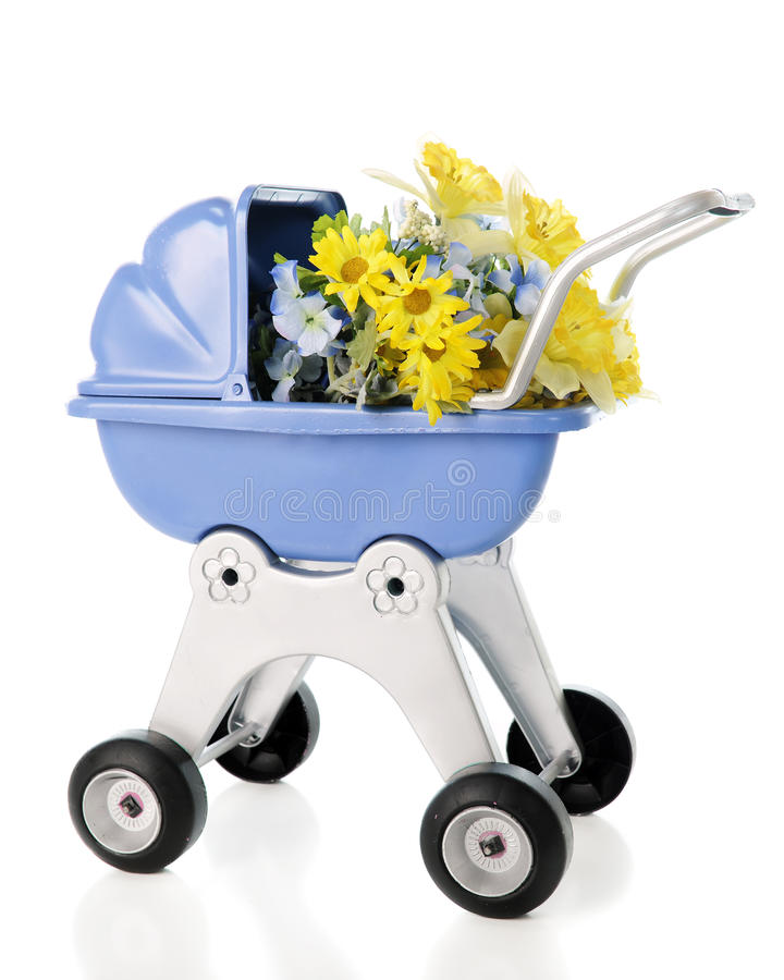 Buggy Full of Flowers. A child's doll buggy full of yellow and blue spring flowers. On a white background royalty free stock images