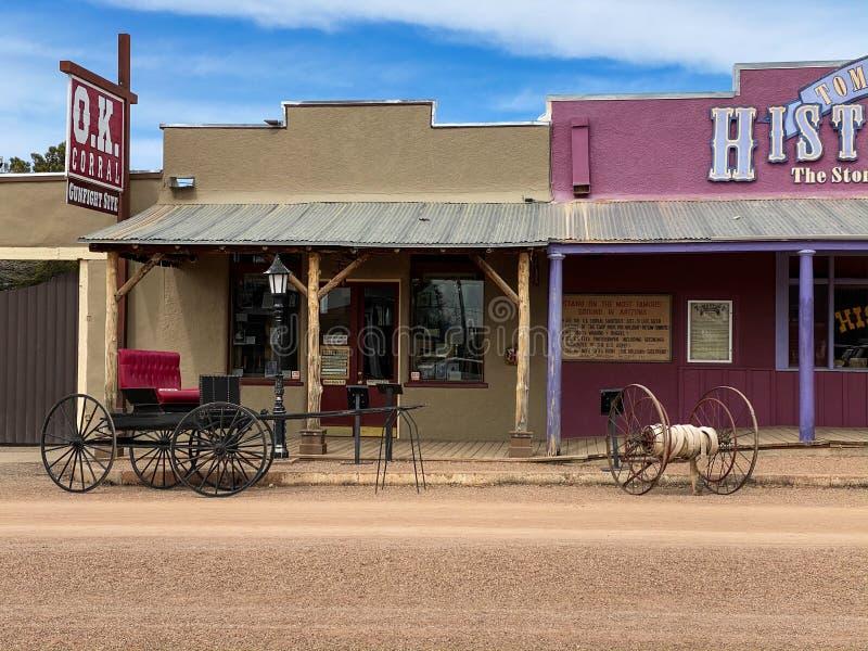 Buggy in op OK-Corral in Tombstone Arizona stock afbeeldingen