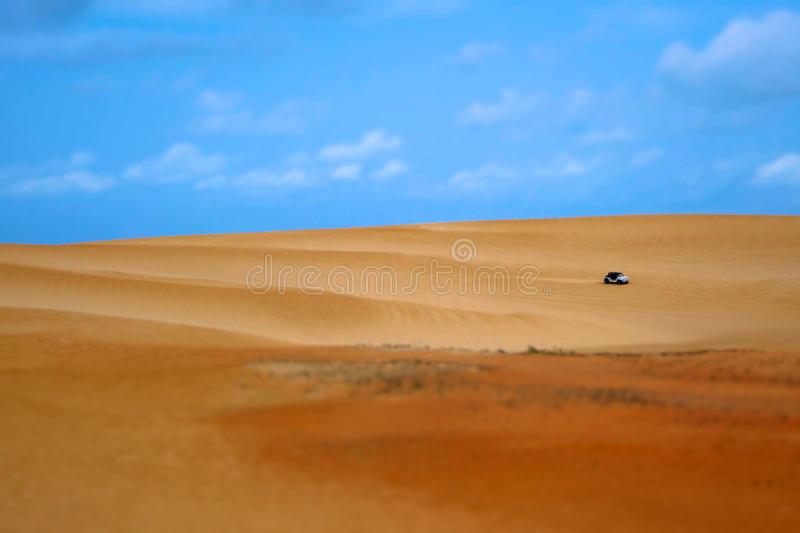 Buggy in a tropical dune. Buggy crossing a tropical dune in Northeast Brazil royalty free stock image
