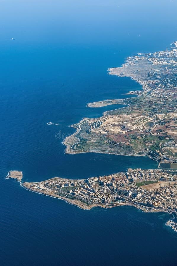 Bugibba en Malta según lo visto del aire imágenes de archivo libres de regalías