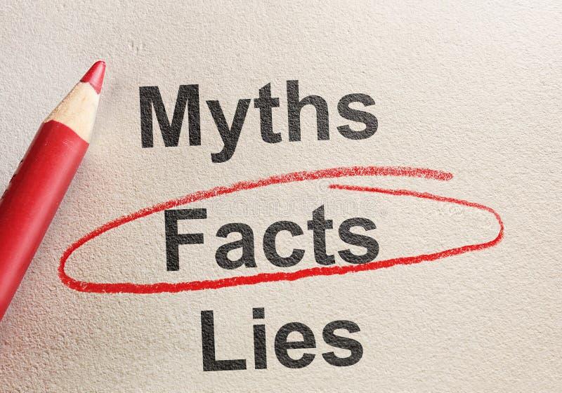 Bugie e miti di fatti fotografie stock libere da diritti