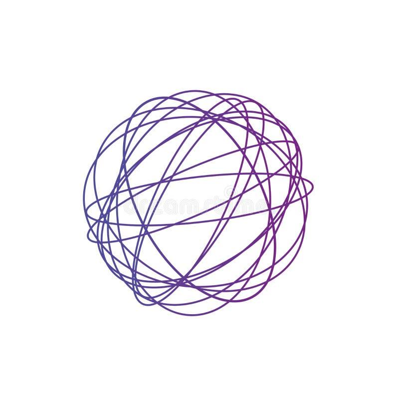 Bugna aggrovigliata del cerchio, struttura complessa colorata Cerchi aggrovigliati variopinti caotici Bande di caos Illustrazione illustrazione vettoriale