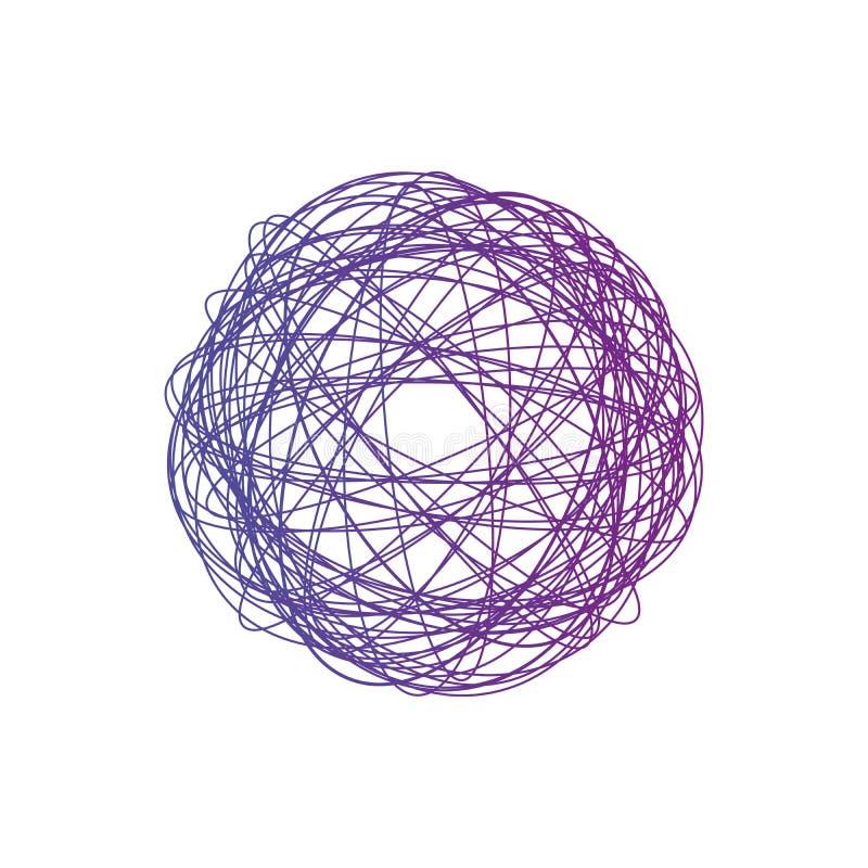 Bugna aggrovigliata del cerchio, struttura complessa colorata Cerchi aggrovigliati variopinti caotici Bande di caos Illustrazione royalty illustrazione gratis