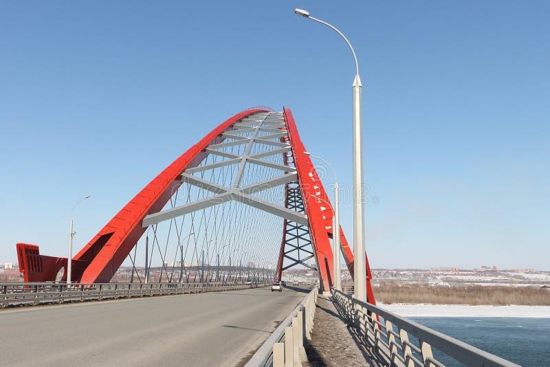 Bugrinsky-Brücke über dem Ob, Nowosibirsk, Russland stockfoto